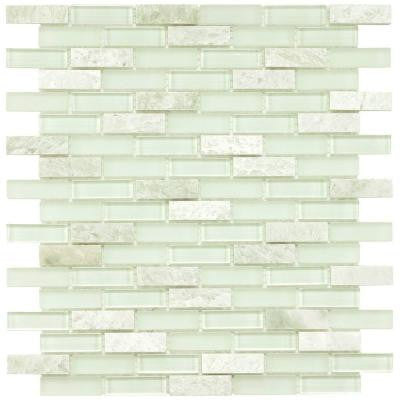 Tessera Subway Ming 11-3/4 in. x 11-3/4 in. x 8 mm Glass and Stone Mosaic Wall Tile