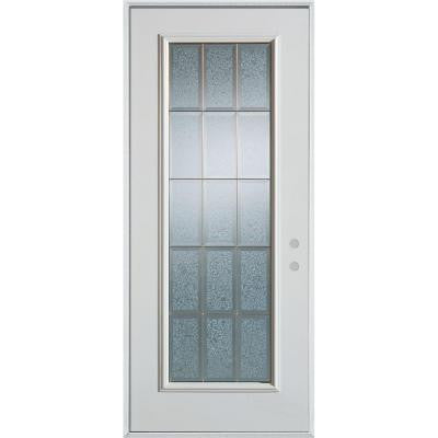 36 in. x 80 in. Geometric Glue Chip and Zinc Full Lite Prefinished White Left-Hand Inswing Steel Prehung Front Door