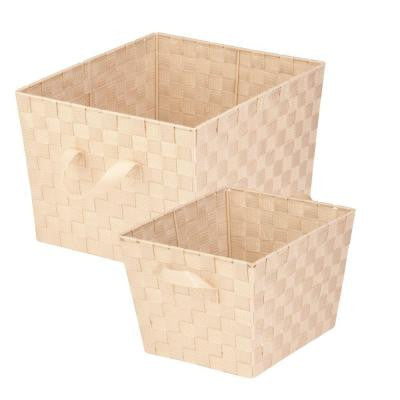 33.8-Qt. and 16.6-Qt. Storage Basket in Creme (2-Pack)