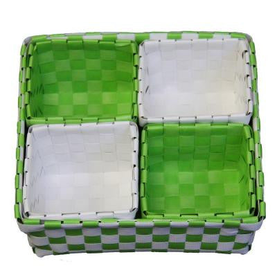 3 in. x 2.75 in. Polypropylene Green/White Tray (Set of 5)