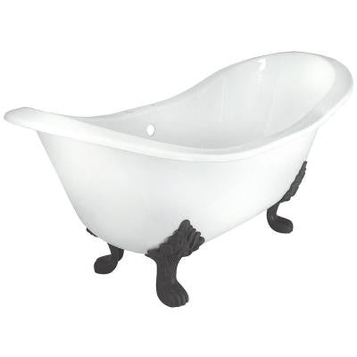 71 in. Double Slipper Cast Iron Tub Rim Faucet Holes in White with Lion Paw Feet in Oil Rubbed Bronze