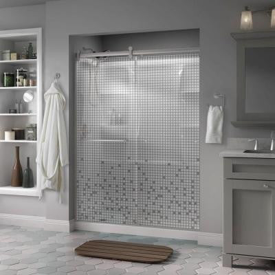 Simplicity 60 in. x 71 in. Semi-Framed Contemporary Style Sliding Shower Door in Nickel with Mosaic Glass