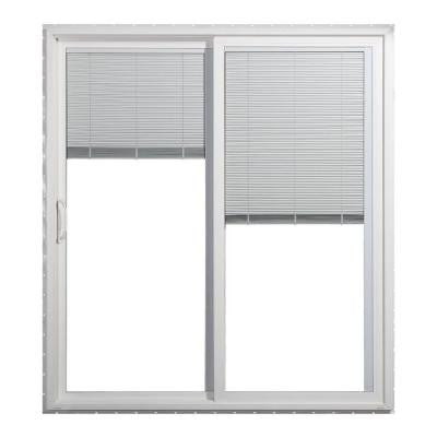 72 in. x 80 in. White Left-Hand Premium Sliding Patio Door with Tilt-and-Raise Mini Blinds