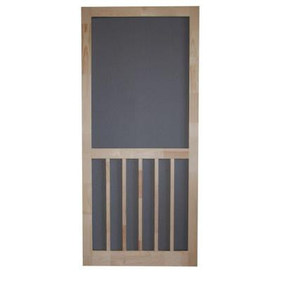 30 In. X 80 In. Timberline Wood Unfinished Reversible Hinged Screen Door