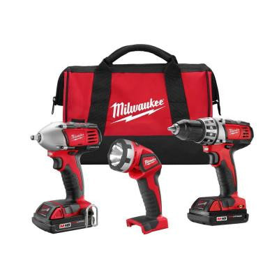 M18 18-Volt Lithium-Ion Cordless Compact Drill/Impact Wrench/Light Combo Kit (3-Tool)
