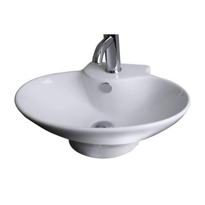 21-in. W x 15-in. D Above Counter Oval Vessel Sink In White Color For Single Hole Faucet