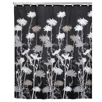 Daizy 72 in. x 72 in. Shower Curtain in Black and Gray