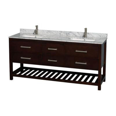 Natalie 72 in. Double Vanity in Espresso with Marble Vanity Top in White Carrara and Under-Mount Square Sinks