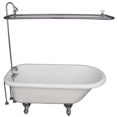 5.6 ft. Acrylic Ball and Claw Feet Roll Top Tub in White with Polished Chrome Feet