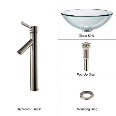 19 mm Thick Glass Vessel Sink in Clear with Single Hole 1-Handle High-Arc Sheven Faucet in Satin Nickel