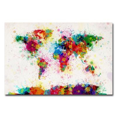 16 in. x 24 in. Paint Splashes World Map Canvas Art