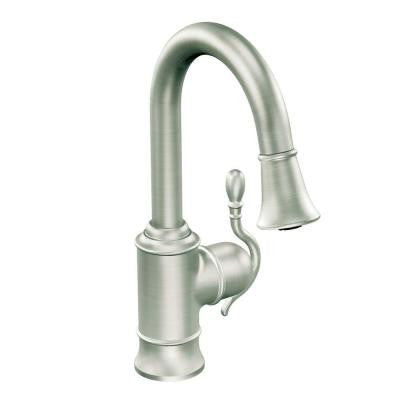 Woodmere Single-Handle Bar Faucet Featuring Reflex in Chrome with Pull-Down Sprayer