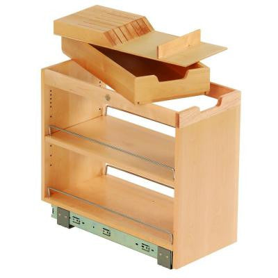 10-3/4x19-1/2x22-1/8 in. FINDIT Birch Kitchen Storage Organization Base Cabinet Pullout with Slide, Knife, Cutting Board