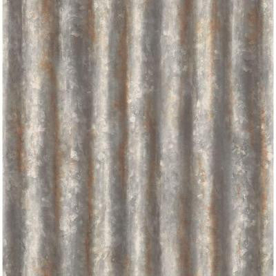 8 in. W x 10 in. H Charcoal Corrugated Metal Industrial Texture Wallpaper Sample