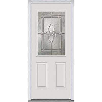 32 in. x 80 in. Master Nouveau Decorative Glass 1/2 Lite 2-Panel Prehung Primed White Fiberglass Smooth Entry Door