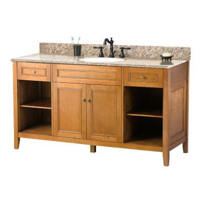 Exhibit 61 in. W x 22 in. D Vanity in Rich Cinnamon with Granite Vanity Top in Golden Hill with White Basin