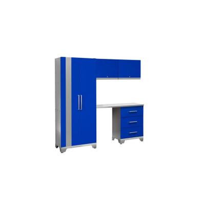 Performance 75 in. H x 78 in. W x 18 in. D Steel Garage Cabinet Set in Blue (5-Piece)