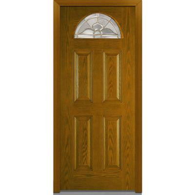 36 in. x 80 in. Master Nouveau Decorative Glass Fan Lite 4-Panel Finished Oak Fiberglass Prehung Front Door