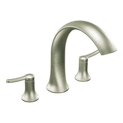 Fina 2-Handle Deck-Mount Roman Tub Faucet Trim Kit in Brushed Nickel (Valve Sold Separately)