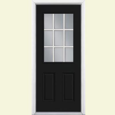 32 in. x 80 in. 9 Lite Painted Steel Prehung Front Door with Brickmold