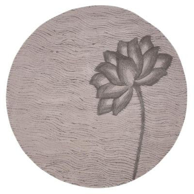 Blooms Grey and Grey 5 ft. 9 in. Round Area Rug