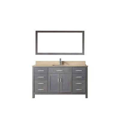Kalize 60 in. Vanity in French Gray with Solid Surface Marble Vanity Top in Beige and Mirror