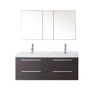 Finley 53-7/8in. Double Basin Vanity in Wenge with Poly-Marble Vanity Top in White