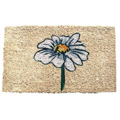 Single White Daisy 18 in. x 30 in. Hand Woven Coconut Fiber Door Mat