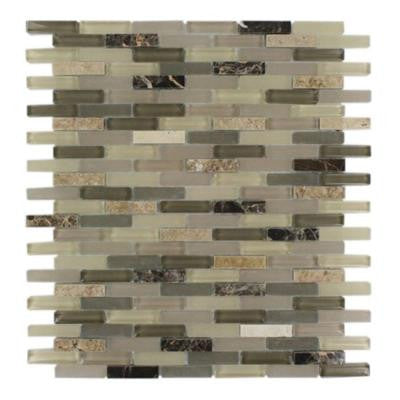Cleveland Blanche Mini Brick 10 in. x 11 in. x 8 mm Mixed Materials Mosaic Floor and Wall Tile