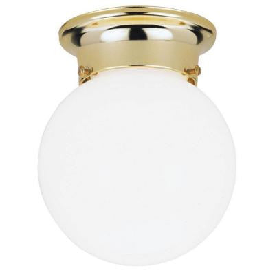1-Light Ceiling Fixture Polished Brass Interior Flush-Mount with White Glass Globe