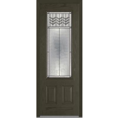 36 in. x 96 in. Prairie Bevel Decorative Glass 3/4-Lite Finished Oak Fiberglass Prehung Front Door