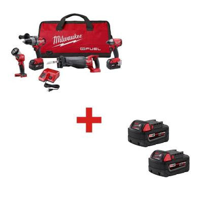 M18 FUEL 18-Volt Lithium-Ion Brushless Combo Kit (4-Tool) with M18 Lithium-Ion 5.0Ah XC Battery (2-Pack)