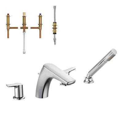 Method 2-Handle Low-Arc Roman Tub Faucet Trim Kit with Handshower in Chrome - Valve Included