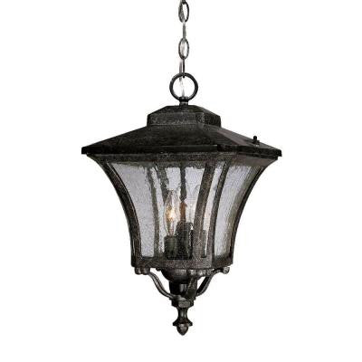 Tuscan Collection Hanging 3-Light Outdoor Stone Lantern