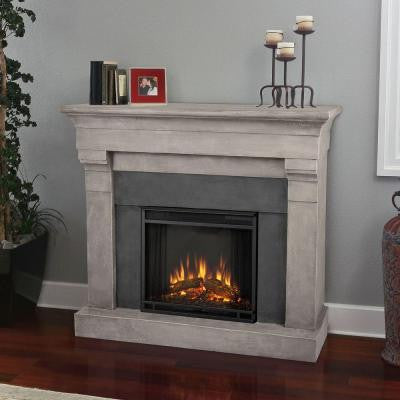 Torrence 51 in. Cast Indoor Electric Fireplace in Cinder Stone