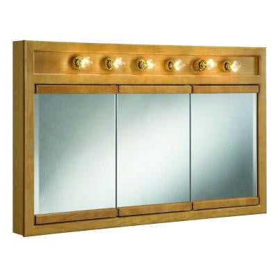 Richland 48 in. x 30 in. 6-Light Tri-View Surface-Mount Medicine Cabinet in Nutmeg Oak