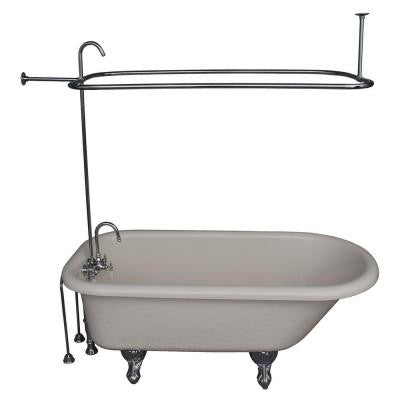 5 ft. Acrylic Ball and Claw Feet Roll Top Tub in Bisque with Polished Chrome Accessories