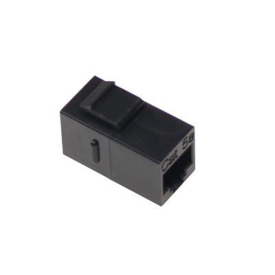 Cat5e F/F Feed-Through Snap-In Keystone Coupler Jack - Black