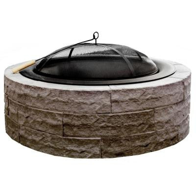 Series 100, 42 in. Lightweight Concrete Fire Pit Kit in Earth Brown with 36 in. Steel Bowl Insert and Spark Screen