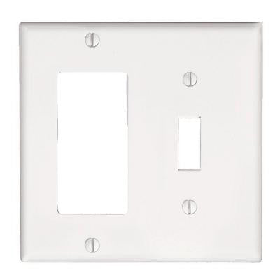 Decora 2-Gang 1 Toggle Combination Wall Plate - White