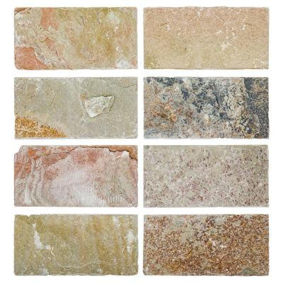 Rose Slate 3 in. x 6 in. Stone Floor and Wall Tile