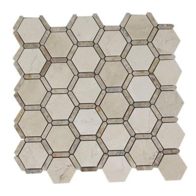 Orchard Dark Emperador Crema Marfil Marble Mosaic Tile - 3 in. x 6 in. Tile Sample
