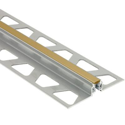 Dilex-AKWS Aluminum with Light Beige Insert 3/8 in. x 8 ft. 2-1/2 in. PVC and Metal Movement Joint Tile Edging Trim