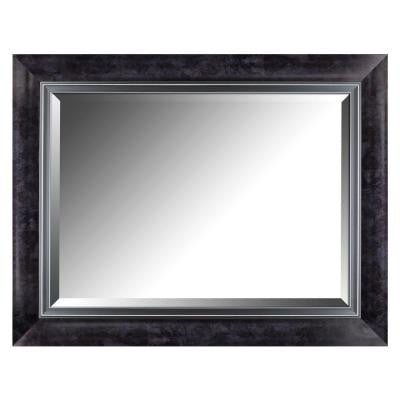 35.25 in. H x 27.25 in. W Black Marble Style Frame with Liner Beveled Mirror