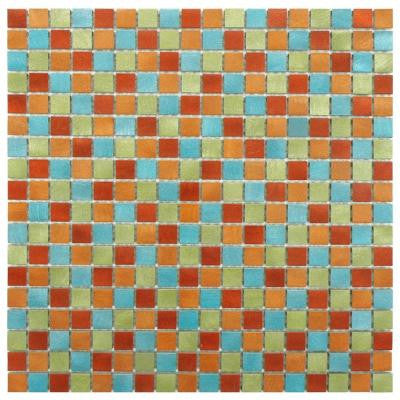 Alumina Mini Cirque 12 in. x 12 in. x 8 mm Brushed Aluminum Mosaic Wall Tile
