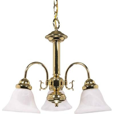 3-Light Polished Brass Chandelier with Alabaster Glass Bell Shades