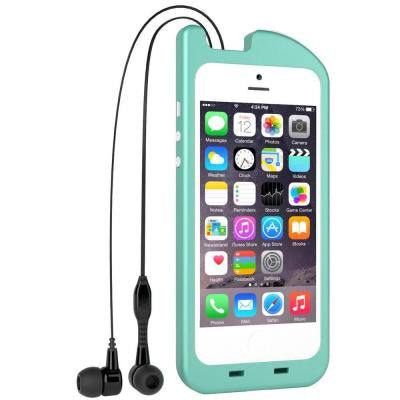 TurtleCell Retractable Headphone Case for iPhone 5/5S - Aqua