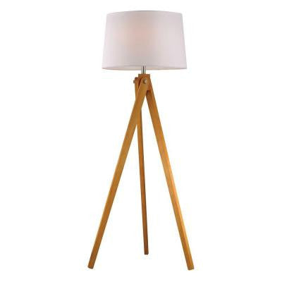 Wooden Tripod 63 in. Wood Tone Floor Lamp with Shade