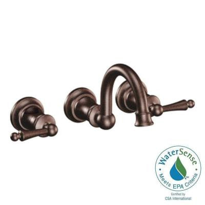 Waterhill Wall Mount 2-Handle High-Arc Bathroom Faucet Trim Kit in Oil Rubbed Bronze (Valve Sold Separately)