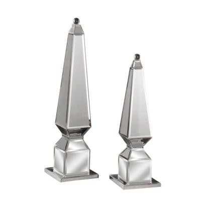 Silver Beveled Decorative Finials (Set of 2)
